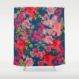 Watercolor Vintage Floral Print on Cerulean Shower Curtain