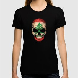 Dark Skull with Flag of Lebanon T-shirt
