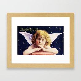 Vintage Christmas Angel 1924 Glaedig Jul Merry Christmas Cherub  Framed Art Print