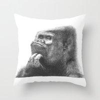gorilla Throw Pillows featuring Gorilla by Nasir Nadzir