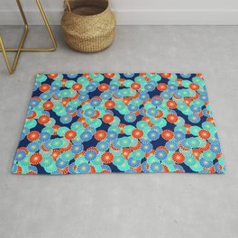 Art Deco Stylized Flower Pattern Blue, Turquoise and Red Rug