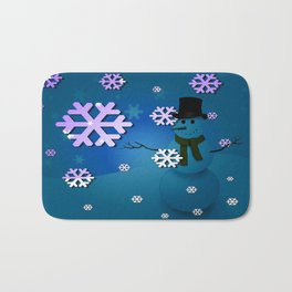 Snowman In A Snow Storm By Annie Zeno Bath Mat