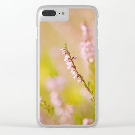 Soft focus of pink heather macro Clear iPhone Case