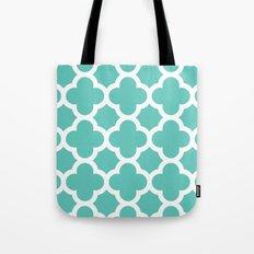 Aqua Quatrefoil Tote Bag