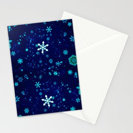 Blue Snowflakes Pattern Stationery Cards