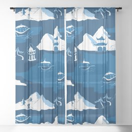 Chinoiserie Flow Blue Modern Boat Toile Sheer Curtain