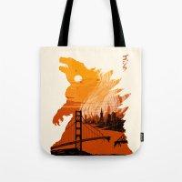 godzilla Tote Bags featuring Godzilla  by tim weakland