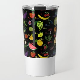 English fruit and vegetables alphabet on dark Travel Mug