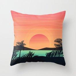 Beautiful dawn sunrise at the beach illustration Throw Pillow