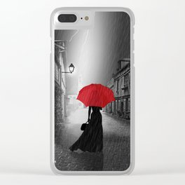 Alone in the rainy night Clear iPhone Case