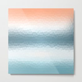 Nautical Gradient Stained Glass Metal Print