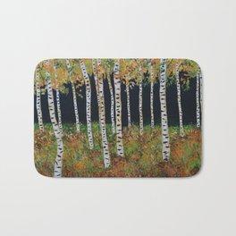 Aspen Birch Trees, Landscape Painting, Autumn Colors, Rustic Home Decor Bath Mat