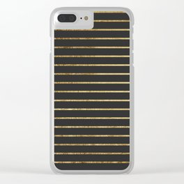 Elegant Chic Yellow Gold Stripes and Black Clear iPhone Case