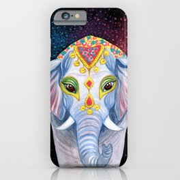 Indian Holi Elephant Watercolor and Acrylic Painting iPhone Case