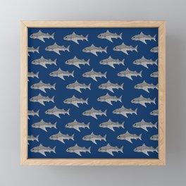 Shark Pattern Framed Mini Art Print