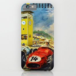 1957 Grand Prix Motor Racing Nurburgring Germany Vintage Advertising Poster iPhone Case