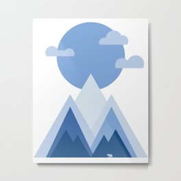 Blue Towering Mountain Sunrise Metal Print