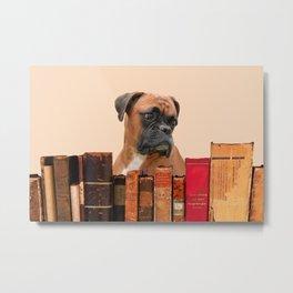 Old Books and Boxer Dog #boxer #dog Metal Print