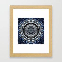 Dark Blue Grey Mandala Design Framed Art Print