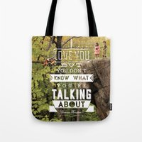 moonrise kingdom Tote Bags featuring Moonrise Kingdom by Alan Betancourt