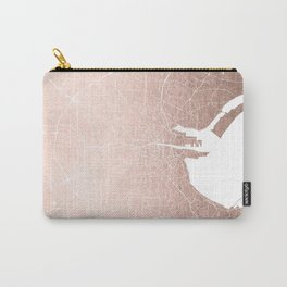 Dublin Street Map Rose Gold and White Carry-All Pouch
