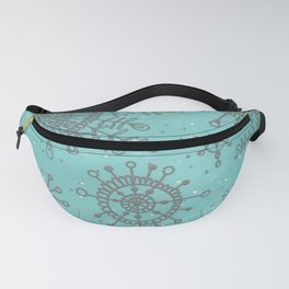 Blue and Silver Snowflakes Fanny Pack