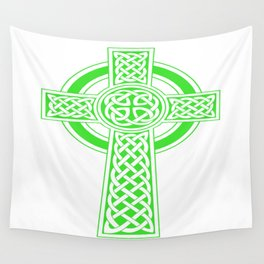 St Patrick's Day Celtic Cross Green and White Wall Tapestry