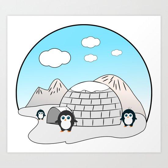 Cute penguins Art Print