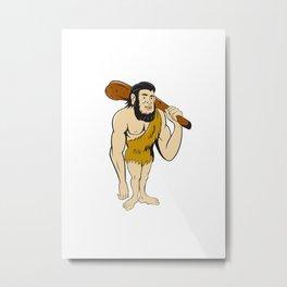 Caveman Neanderthal Man Holding Club Cartoon Metal Print