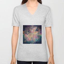 Stylish Gold mandala watercolor & Nebula Colorful Design Unisex V-Neck