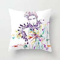 chill Throw Pillows featuring Chill by Sarah Soh
