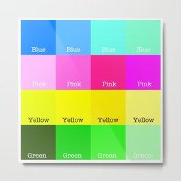 Blue, Pink, Yellow, Green  Metal Print