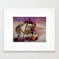 ninja turtle Framed Art Prints featuring ninja turtle and mario by joseph Leonard