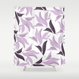 Abstract modern pastel lavender white leaves floral Shower Curtain