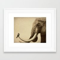 elephants Framed Art Prints featuring Old Friend by Eric Fan