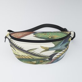 Histoire Generale des Voyages (1767) by J V Schley a collage of colorful rare exotic fish Fanny Pack