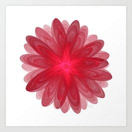 Red Flower Bloom Fractal Art Print