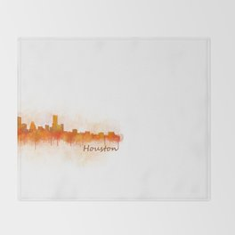 Houston City Skyline Hq v3 Throw Blanket
