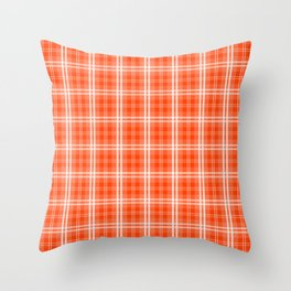 Bright Neon Orange and White Tartan Plaid Check Throw Pillow