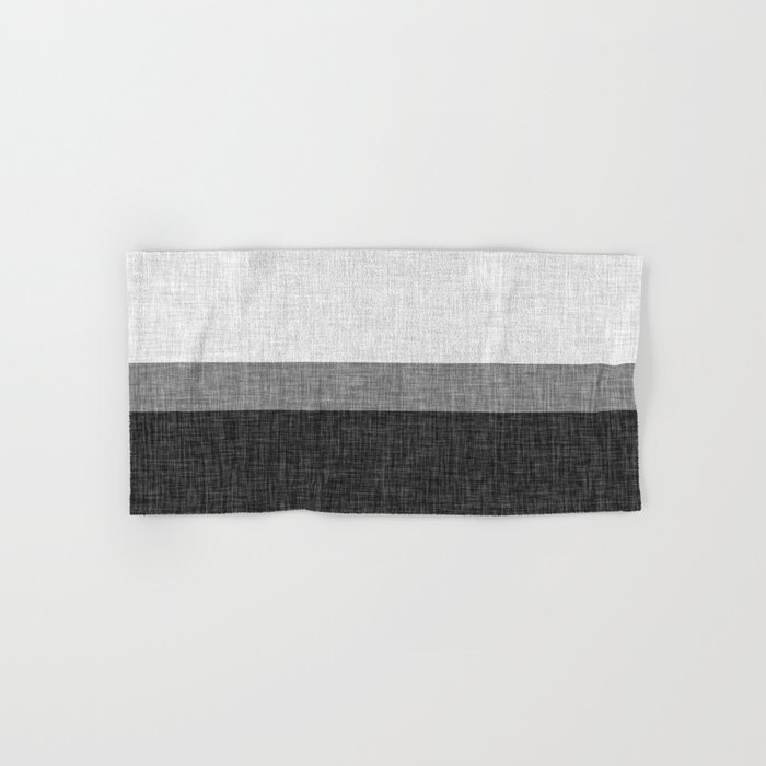 Black And White Graphic Burlap Pattern Stripe Hand Bath Towel By