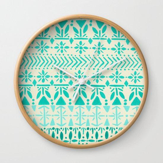 Norwegian Pattern – Aqua on White Wall Clock
