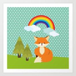 Fox, Rainbow , nursery decor , children gift, birthday gift Art Print