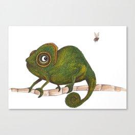 Chameleon vs fly Canvas Print