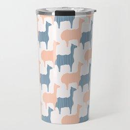 Pastel Pink and Blue Llama Silhouette Seamless Travel Mug
