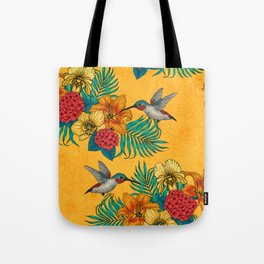 Hummingbirds and tropical bouquet in yellow Tote Bag