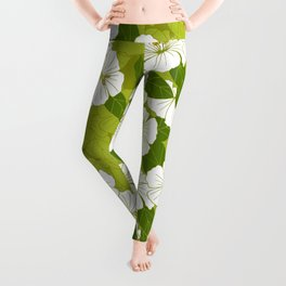 Green Hibiscus Pattern Leggings