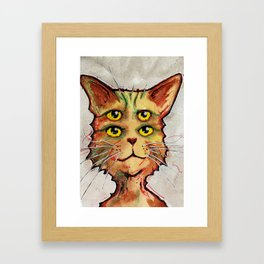 Four Eyed Cat Framed Art Print