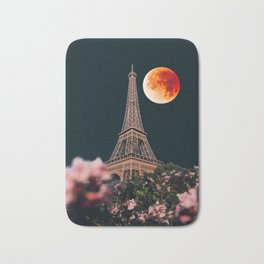 Blood Moon Over Paris France and the Eiffel Tower and Pink Flowers Bath Mat