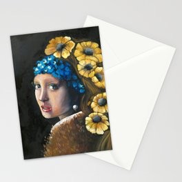Contemporary Girl with the Pearl Earring Stationery Cards
