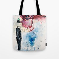 magritte Tote Bags featuring Magritte, Apple & Mermaid by Claudia Feher